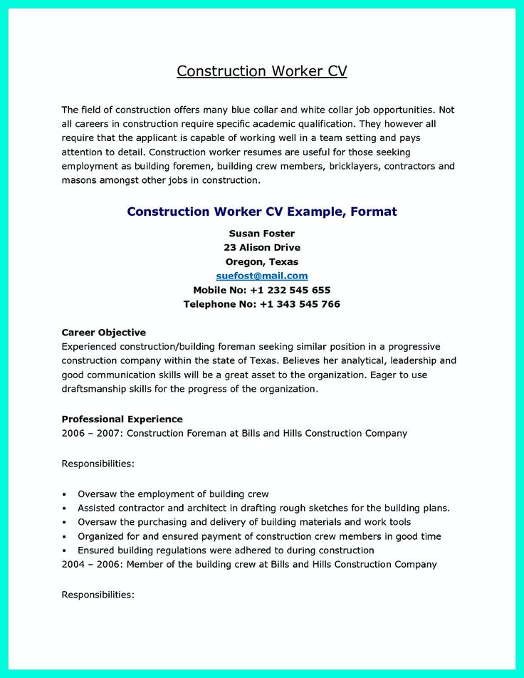 ponad 25 najlepszych pomysw na pinterecie na temat construction sample resume construction worker - Sample Resume Construction Worker