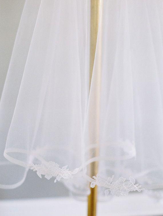 1/2 Inch Horsehair Veil, Chantilly Lace Edge Wedding Veil, Blusher Veil, Drop Veil, Double Layer Veil, Classic Veil, Ivory Veil 1629