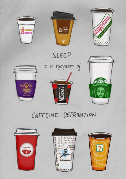 Fun artwork here for this coffee poster. I like the variety in brands. And as for the symptoms, well, get some caffeine quick and feel better.