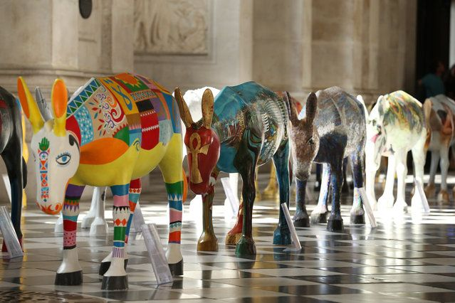 "Artist painted donkey statues are displayed in the ""Caravan"" exhibition on August 30, 2013 in London, England. (Photo by Peter Macdiarmid/Getty Images)"
