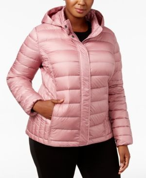 32 Degrees Plus Size Packable Puffer Coat - Pink 1X