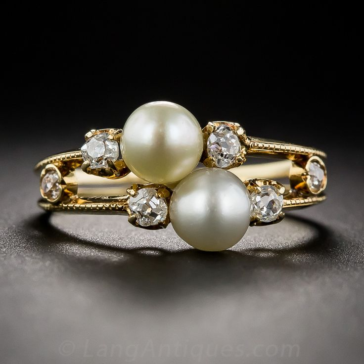 Antique Natural Pearl and Diamond Two-in-One Ring, 19th-century Victorian treasure: A perfectly matched pair of lustrous natural pearl & sparkling diamond rings delicately crafted in rich 18K yellow gold / Lang Antiques