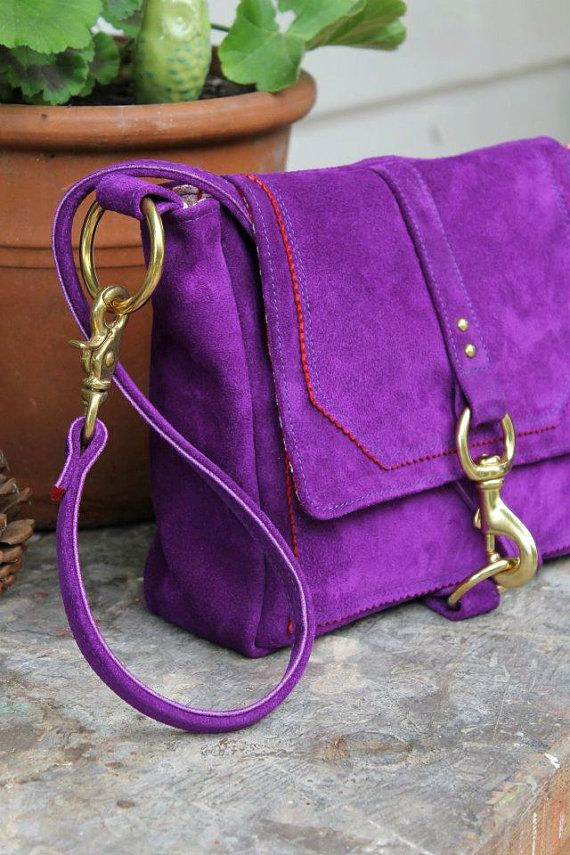Lucy bag in Purple suede w/ red trim by MadelineChadwick on Etsy, $175.00