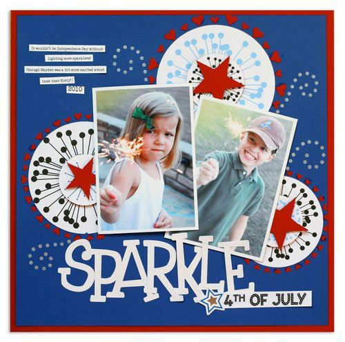4th of July Project Ideas: Sparkle - Cheerful Stars  Stripes Scrapbooking Layout Idea that can be converted to a Digital Photo Book layout; Software: Creative Memories Storybook Creator; Embellishments: Cheerful Stars and Stripes Digital $5.95; Details and Instructions: http://projectcenter.creativememories.com/photos/4th_of_july_project_ideas/sparkle.html