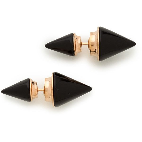 Vita Fede Double Titan Stone Earrings - Onyx/Rose Gold found on Polyvore