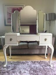 "Vintage dressing table upcycled with Mineral Fusion paint ""Plaster"" and gold guilding."