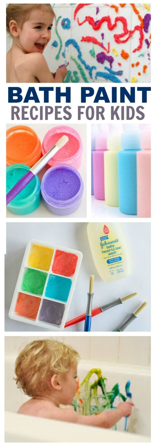 My kids love bath time, and they love painting.  Combine the two, and you have a giant canvas/mess free art activity for the kids!  Bath PaintRecipes for Kids  For All the Best Kid ActivitiesFollow us