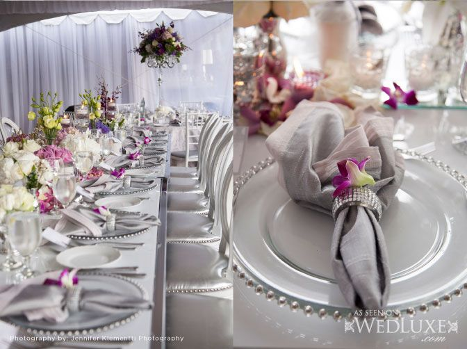 Silver/gray Napkin With Purple Flower Accent. Find This Pin And More On Wedding  Theme  ...