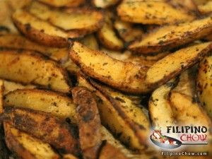 These are Potato Wedges. To me potato wedges really are the perfect side dish for barbeque or hamburgers. They are similar to french fries but the wedges are just a different cut of the potato. They are often left unpeeled too which preserves the nutritional value of potato skin. And since it is baked, rather than deep fried like french fires, the fat content is lower for this dish. Enjoy this recipe from us at Filipino Chow. Ingredients  3 large potatoes 2 tablespoons of butter or ...