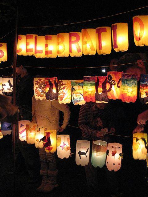 2 liter bottle/tissue paper/battery operated tea light lanterns