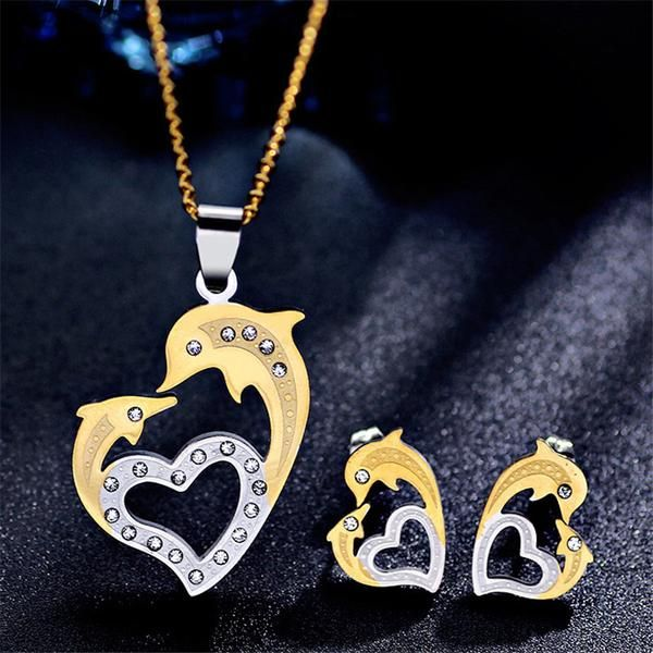 Elegant Dolphin Heart Necklace / Earrings Dolphin Jewelry Set In Two Tone Colour