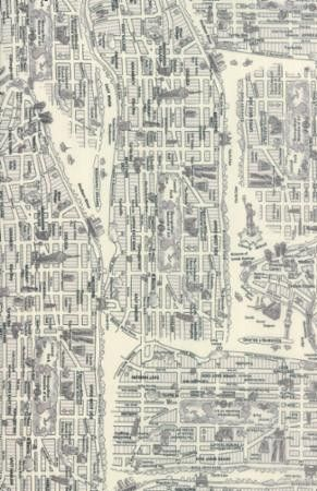 """Map of New York in Black and White"" by House from the collection ""Passport"". Available at www.pinkcastlefabrics.com."