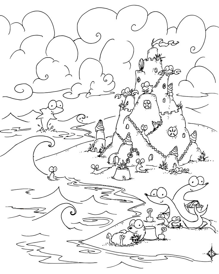 Sand Castle Animals Coloring Page