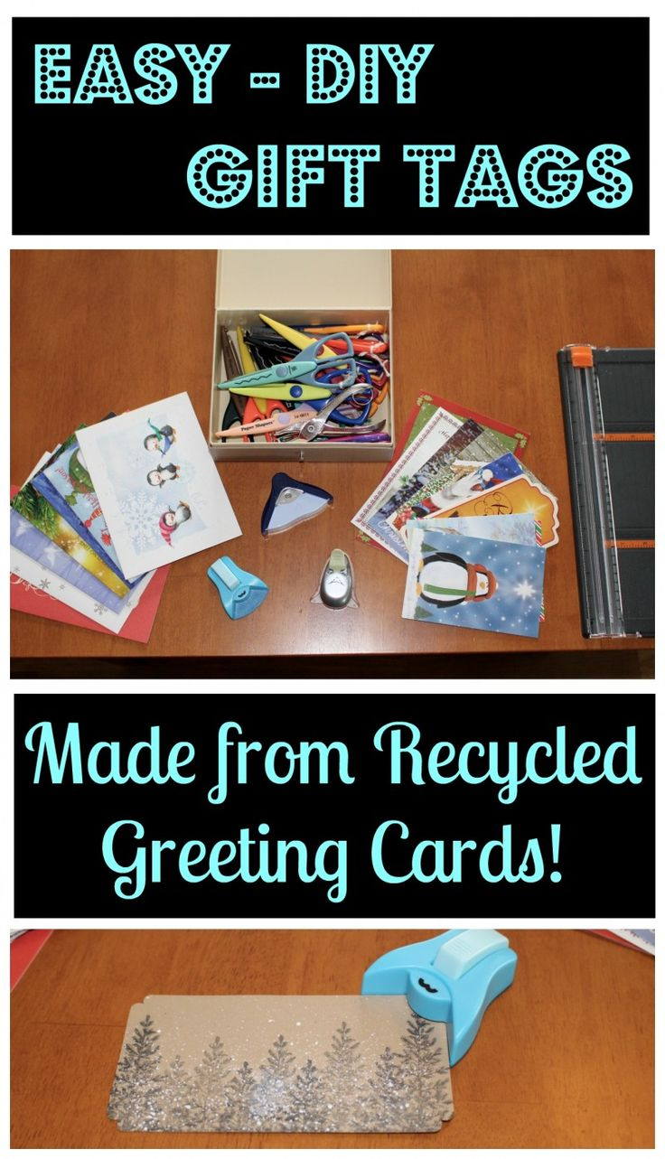 Easy, DIY Gift Tags {Made From Recycled Greeting Cards}. Great way to upcycle birthday cards or christmas cards!