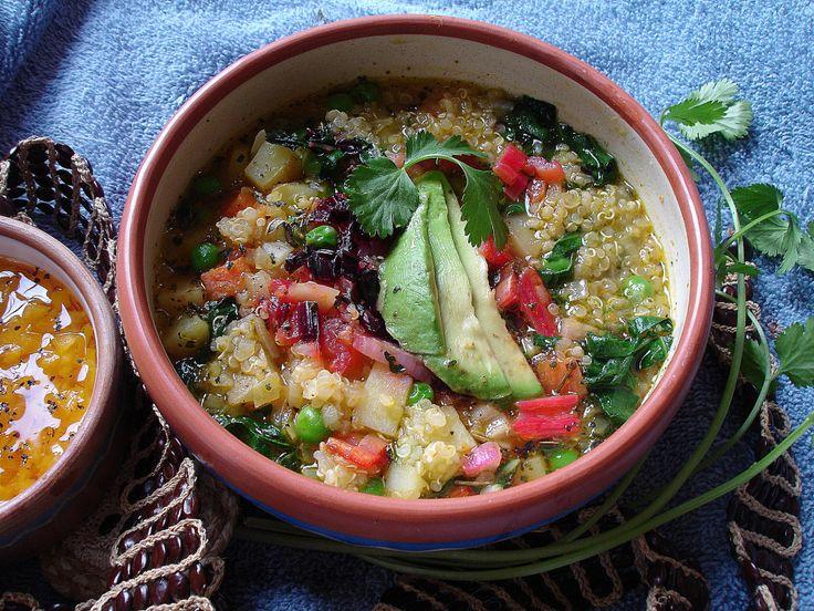 Peruvian Sopa de Quinua (Quinoa Soup). Also includes a recipe for the classic Peruvian pepper condiment which I love!
