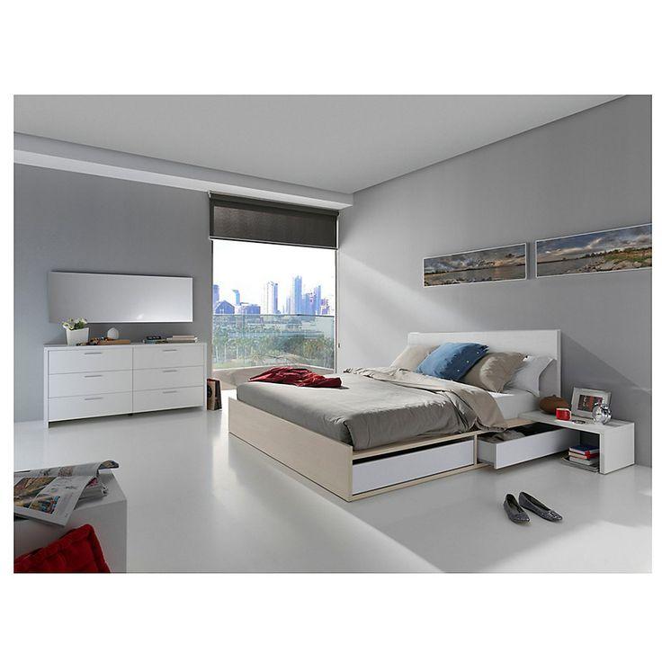 Gen rico cama 2 plazas con 4 cajones respaldo kiev 2 for Cama 2 plazas con cajones