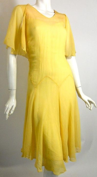 Saffron yellow silk chiffon 20s dress lined in nude silk with capelet shoulders