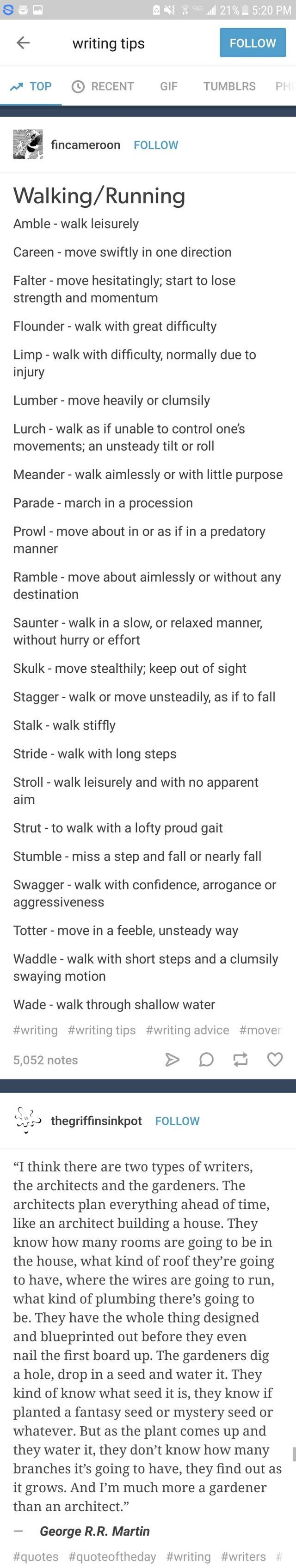 Types of walking and want word to use to describe them