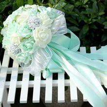 5 цветов мятно-зеленый искусственные цветы-свадьба невесты букеты 2016 романтический свадебный брошь букеты Accessies F4(China (Mainland))