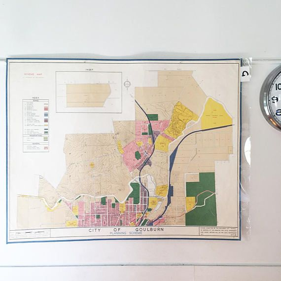 Map  Vintage Map  1961 Goulburn Map  Planning Map  Mid