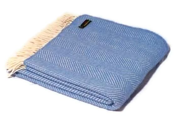 FISHBONE PURE WOOL THROW - BLUE TWEEDMILL THROW A beautiful timeless design which has stood the test of time made using 100 lsquo Pure New Wool rsquo