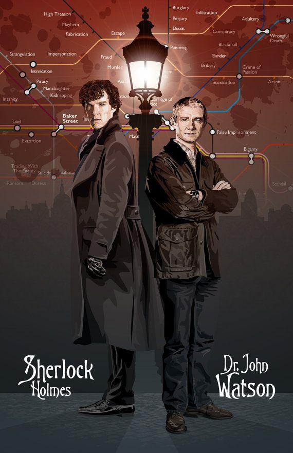 Sherlock  Holmes & Watson  17 x 11 Digitaldruck von DadManCult, $15.99
