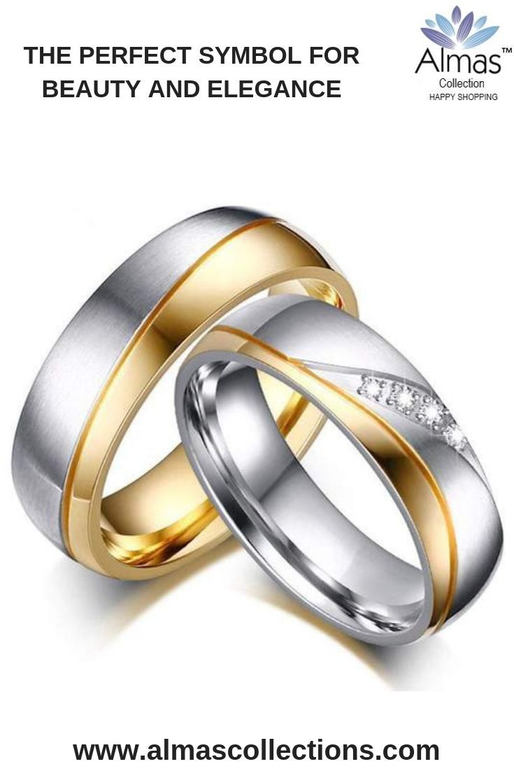 Men Women Gold Color Stainless Steel Engagement Or Wedding Rings