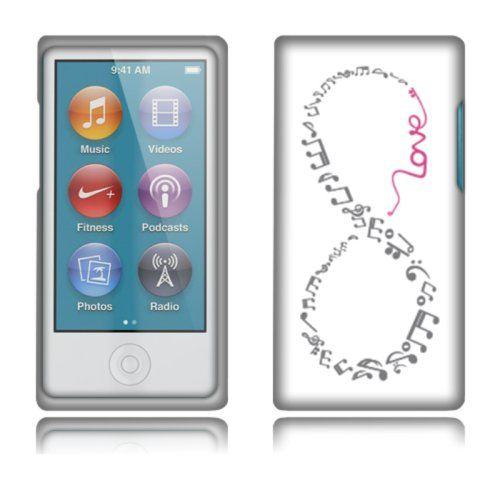 Fincibo (TM) Protector Cover Case Snap On Hard Plastic Front And Back For Apple iPod Nano 7 (7th Generation) - Grey And Pink Love Music Infinity
