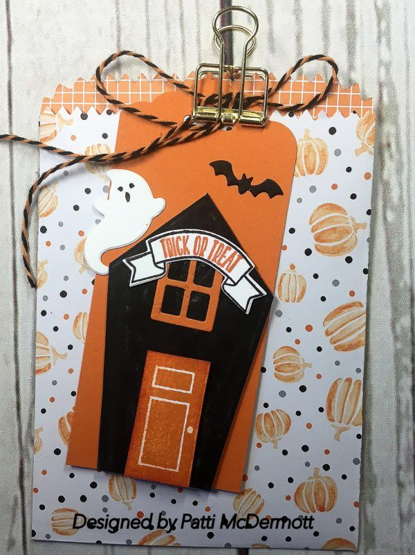 From the HC, this 3D item is what we made at Camp on Saturday.  The DSP is Halloween Night Specialty paper and I cut the bag out with our Mini Treat Bag Thinli