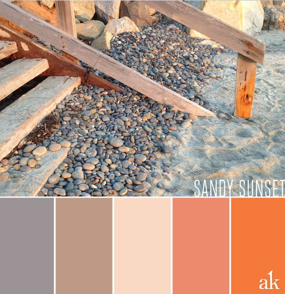 a beach-sunset-inspired color palette // gray, taupe, cream, and orange