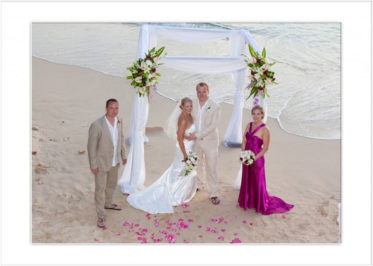 Romantic destination wedding in Barbados on the beach
