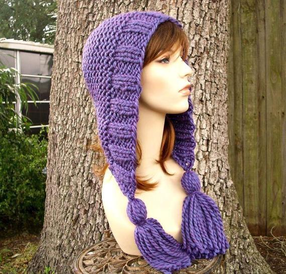 chunky hat ear flap hat blue hood wool hooded hat with tassels