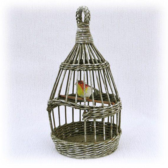 Wicker birdcage