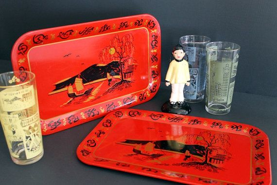 Vintage Red Asian Art Tin Tray Snack TV Tray by Circa810 on Etsy