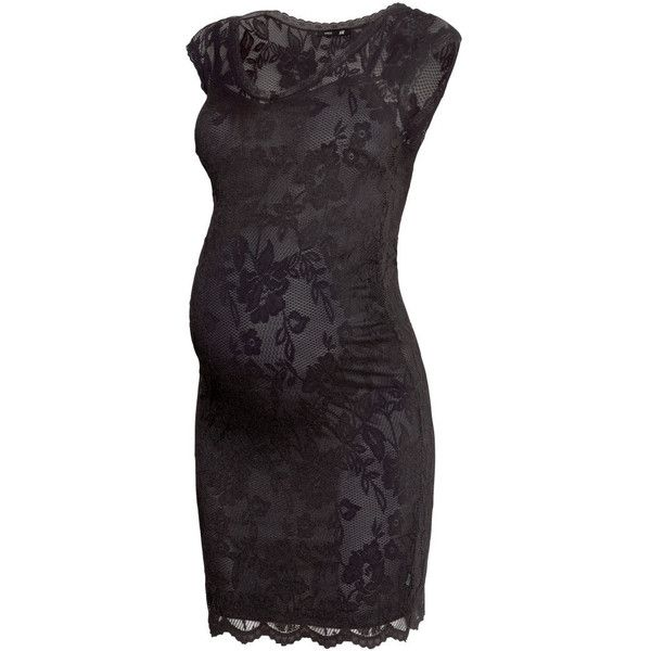 H&M MAMA Lace dress ($18) ❤ liked on Polyvore featuring maternity, dresses, maternity clothes, maternity dresses, pregnancy and black