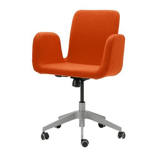 IKEA - PATRIK, Työtuoli,  , Ullevi oranssi, , Säädettävän istumakorkeuden ansiosta tuolissa on helppo löytää hyvä asento.Keinutoiminnon herkkyyttä voi säätää istujan liikkeiden ja painon mukaan.Kumipäällysteen ansiosta pyörät toimivat hyvin kaikenlaisilla lattioilla.