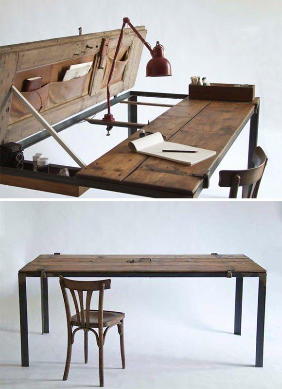 Magnifique! Table de cuisine complète à partir de vieille porte, peut se convertir en bureau. Love it!