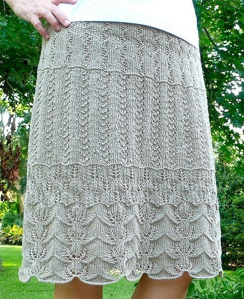 Многослойная юбка спицами