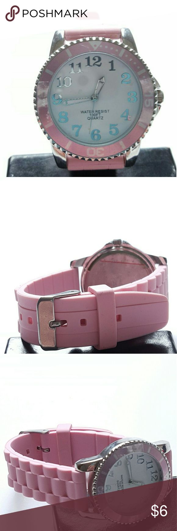 Pink dial wrist watch braided band silver case Pink dial wrist watch braided band silver case white face quartz water resistent soft light pink band Good condition the plastic is slightly rising but not really noticeable quick fix #pink #dialwatch #watches #wristwatch #watch #quartz #lightpink #silver #braided #white #waterresistent Accessories Watches