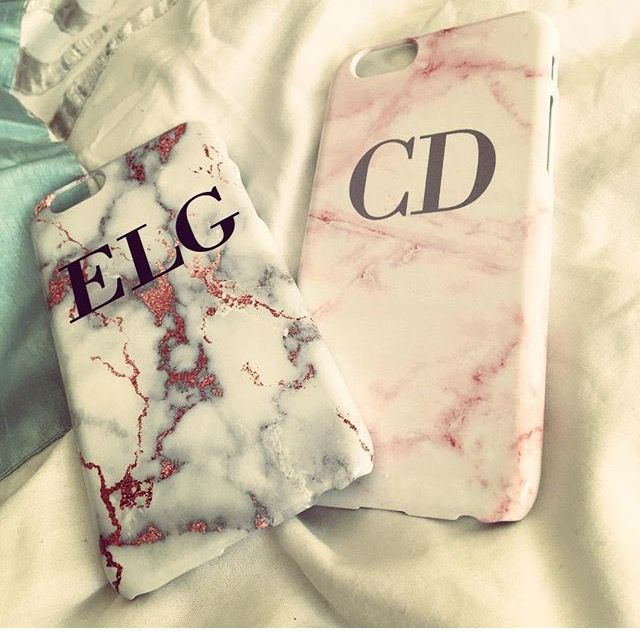Personalised White x Rose Gold Marble and the Pink Cotton candy Marble initials phone cases - LIVE x MAINTAIN