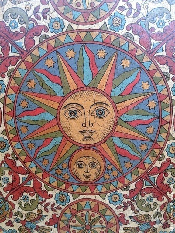 """Тарелка декоративная""""Солнце и луна"""" - русский стиль,русский сувенир,русская традиция"""