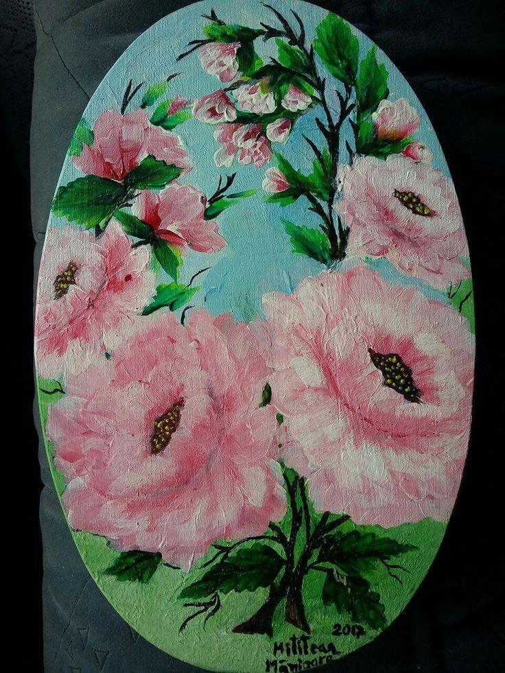Roze(25€) Tablou pictat pe lemn Dimensiuni 23/15cm Disponibil