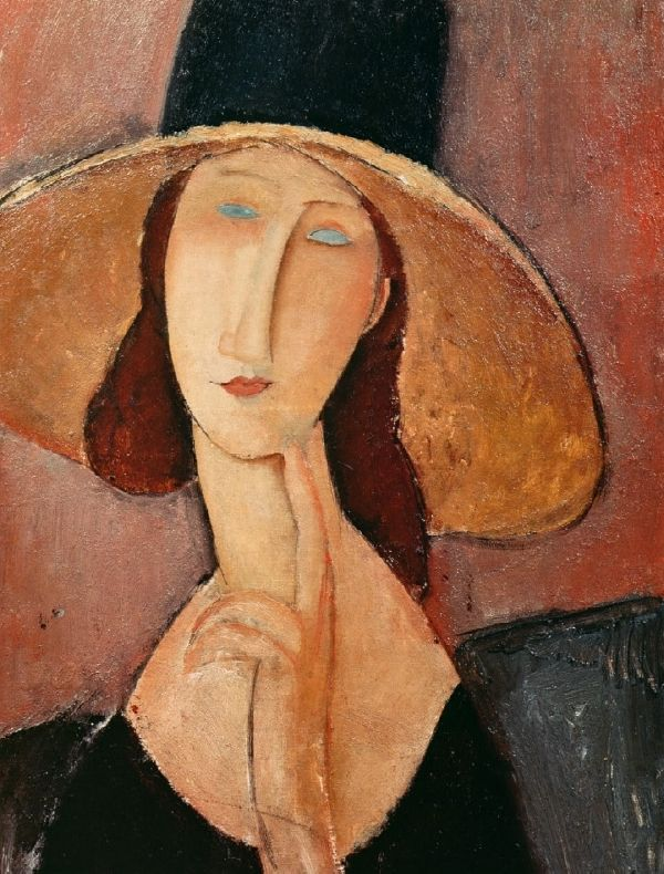 Amedeo Clemente Modigliani ( 1884 - 1920) was een Italiaans kunstschilder en beeldhouwer. De schilderkunst van Modigliani is herkenbaar aan de langgerekte lichamen van de vrouwen en de warme gloeiende kleuren. - Portrait de Jeanne Hebuterne dans un grand chapeau (1918-1919) -