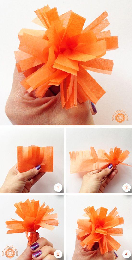 Como hacer flores de Cempasuchitl para decorar tu fiesta o altar del Día de los Muertos | LiveColorful.com/es
