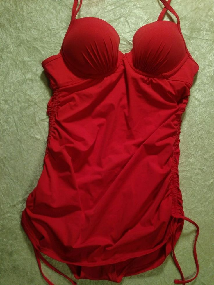 Love your ASSETS swimsuit by spanx medium push up red orange adj straps stylish  #SPANX #OnePiece