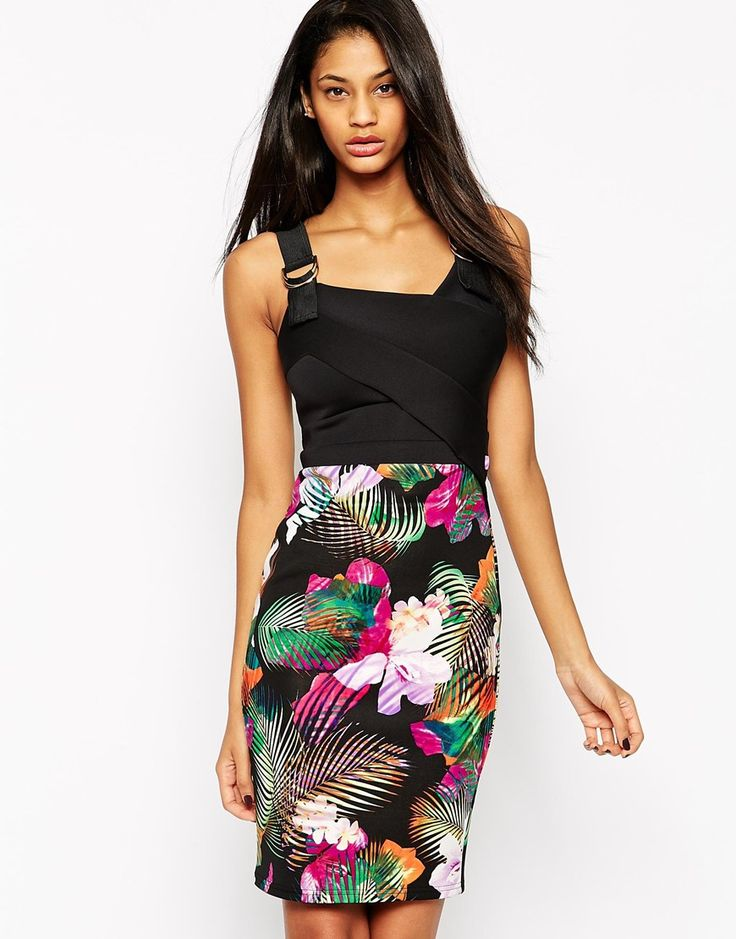 Image 1 ofLipsy 2 In 1 Pencil Dress With Printed Skirt And D Ring Detail
