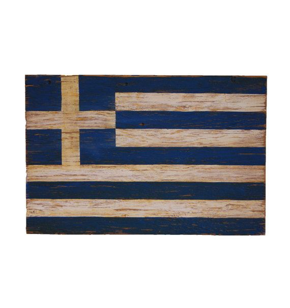Greek Wood Flag Sign - Greek sign - flag sign - outdoor sign - outdoor wooden flag - Greece sign - Greek flag - Greece flag