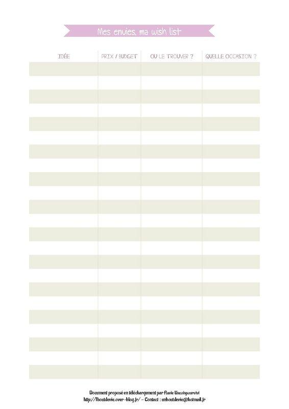 Fiche PDF pour classeur de maison organisée.  Mes envies, ma wish list