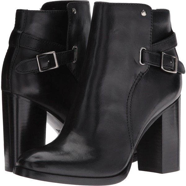 Frye Claude Jodhpur (Black) Women's Boots (240 CAD) ❤ liked on Polyvore featuring shoes, boots, ankle boots, black, leather ankle boots, black bootie boots, black buckle boots, black leather boots and bootie boots