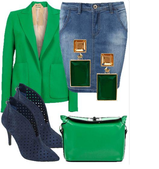Синяя джинсовая юбка, темно-зеленый жакет, темно-синие ботильоны, зеленая сумка и квадратные темно-зеленые серьги